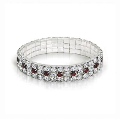 Genuine Garnet and Crystal Stretch Bracelet