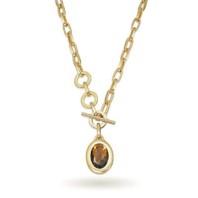 Goldtone Smoky Brown Crystal Pendant