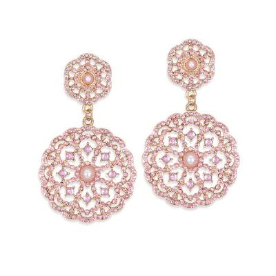 Pink Faux Pearl Drop Earrings