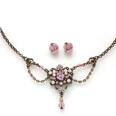 Rose Necklace and Pieced Earrings Set