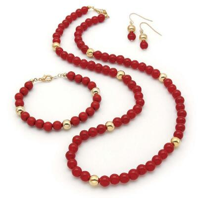 Red and Gold Necklace, Earrings and Bracelet Set