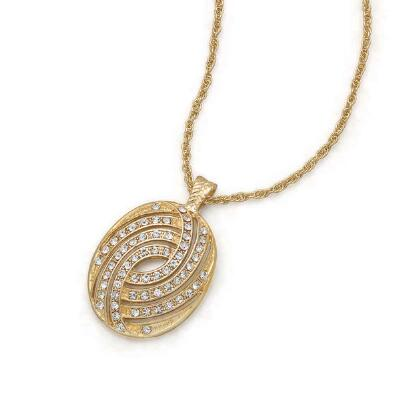 Oval Pendant with Crystal Stones