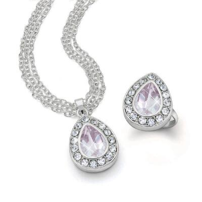 Genuine Pink Amethyst Necklace and Ring Set