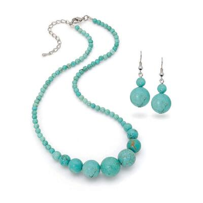 Genuine Turquoise Necklace and Earrings Set