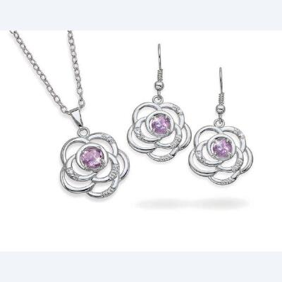 Amethyst Flower Pendant and Earrings Set
