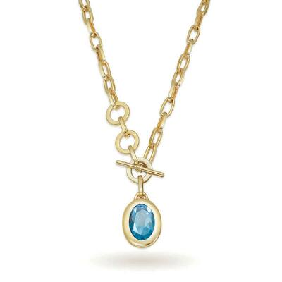 Goldtone Blue Topaz Pendant