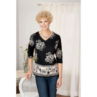 Patterned V-Neck Tee