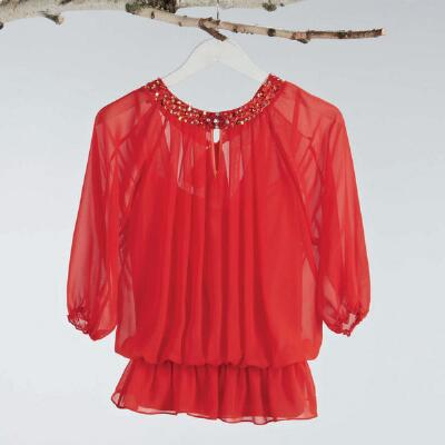 Embellished Chiffon Blouse With Camisole