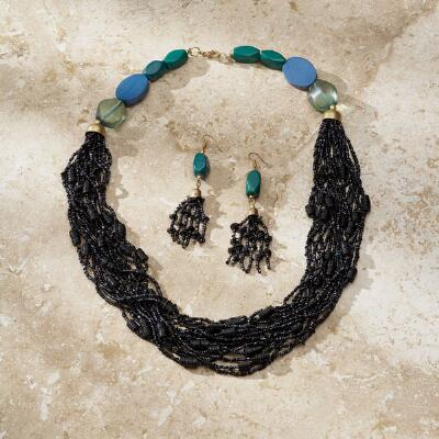 Multi-Strand Beaded Necklace and Earrings Set