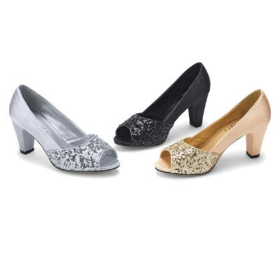 Satin Shine Peep-toe Pumps by Jewels by Jade