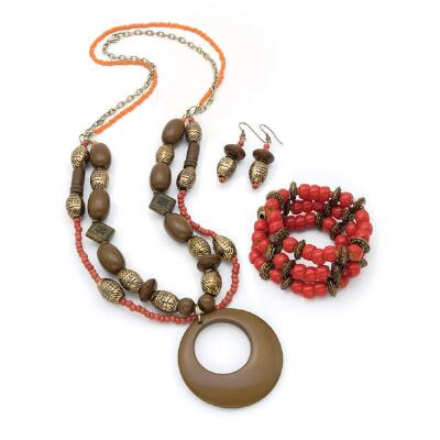 Beaded Earrings, Necklace and Bracelet Set
