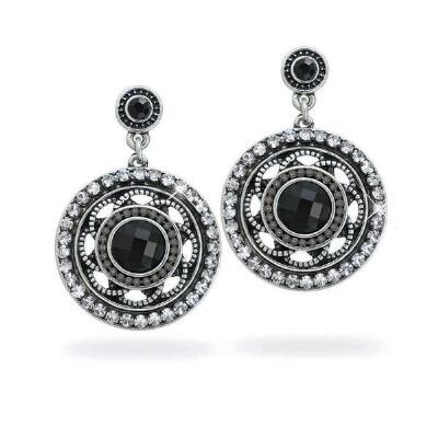 Antiqued Black Beaded Earrings