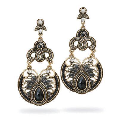 Black Beaded Hinged Earrings