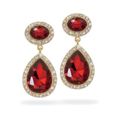Ruby Glass Teardrop Earrings