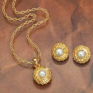 Pearl Pendant & Earring Set