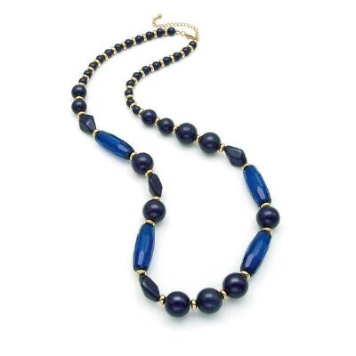 Gold and Navy Beaded Necklace