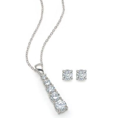 Zirconia Necklace with Stud Earring Set