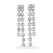 Crystal Waterfall Silvertone Earrings
