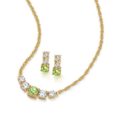 Genuine Peridot Necklace and Earrings Set