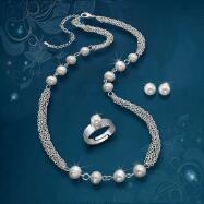 Fresh Water Pearl Necklace, Ring and Earrings Set