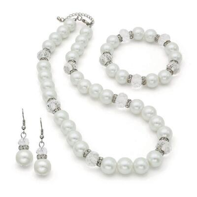 Genuine Cream Fresh Water Pearl Necklace, Bracelet and Earrings Set