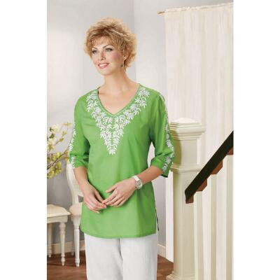 Embroidered V-Neck Tunic
