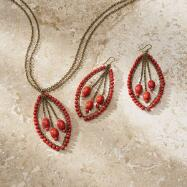 Red Beaded Necklace and Earrings Set