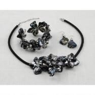 Shell Flowers Necklace, Earring and Bracelet Set - Black