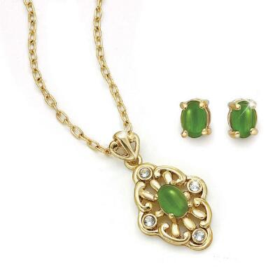 Genuine Jade Earring and Necklace Set