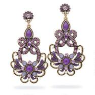 Antiqued Purple Floral Beaded Earrings