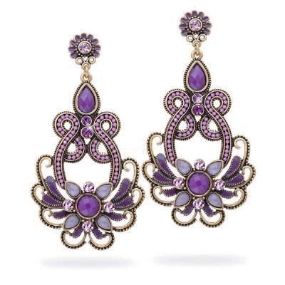 Antiqued Purple Floral Beaded Earrings