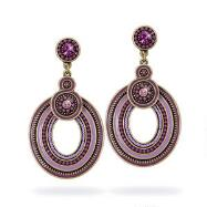 Antiqued Purple Beaded Circular Drop Earrings