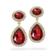 Ruby Glass Teardrop Earrings