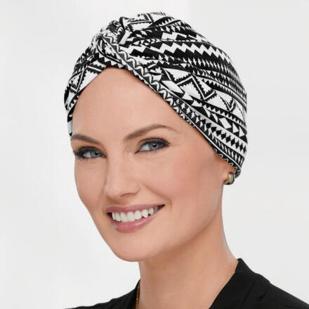 Twist-Front Print Turban - Turban Hair System by Paula Young®