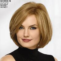 Lush layers of rich, real human hair enhance the elegance and sophistication of this fabulously fashionable bob wig. The fringeless front and forward angled sides beautifully frame the face, and the graduated, subtly stacked back completes the thoroughly modern A line silhouette. Luxurious, 100 real human hair fibers are heat stylable, just like your own hair. Length: 7 Front; 7 Top; 7 Crown; 4. 5 Sides; 3. 25 5. 25 Upper Back; 2. 25 Nape. Weight: 3. 1 oz.