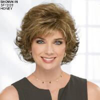 Turn heads in this marvelous mid length style Soft, wavy layers; wispy, face framing bangs and sides; and a rounded silhouette create a beautiful, flattering, easy to wear style that is sure to please. Fullness and volume throughout give this lovely look a nice lift. Easy care synthetic Kanekalon® fibers hold the style with minimum upkeep. The capless construction creates a light, airy feel for maximum comfort. The open ear tabs allow you to wear glasses through small openings in the wig and over the fibers for a natural look. Extended neck allows more coverage of the nape of the neck so you can easily tuck away any stray hairs underneath. Length: 2. 75 Front; 4 Top; 4 Crown; 3. 75 Upper Back; 3. 75 Sides; 3. 5 Nape. Weight: 2. 2 oz.