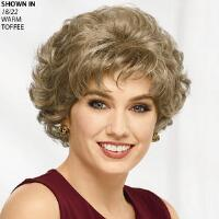 This wig creates extra length and fullness for a variety of styling options. Soft waves create a feminine and full look. Style: Curly Material: Synthetic Length: Short; 3 3 4 front, top, crown, sides, and upper back; 2 3 4 nape. Weight: 2. 5 oz. Features: Hand tied frontnbsp;and crown, Permatease, Extended neck. nbsp;