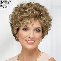 Voluminous layers of allover spiral curls give this gorgeous curly wig a wealth of body, bounce, and texture. The curly, brow skimming bangs and lush, curly sides effortlessly frame the face and accentuate the gently contoured silhouette. Super light, baby fine Kanekalon® WhisperLite® fibers make the wig so comfortable and lightweight you wont even feel like youre wearing it 100 hand tied monofilament top features a thin, breathable fabric that allows skin color to show through for a very natural looking effect and allows you to direct the hand tied fibers for your desired look. Developed by medical professionals specifically for women with medical hair loss, the lightweight, non allergenic SOFTouch® gel lining reduces irritation and itching, warms to your body temperature, and maximizes comfort. Open ear tabs allow you to wear glasses through small openings in the wig and over the fibers for a natural look. Extended neck allows more coverage of the nape of the neck so
