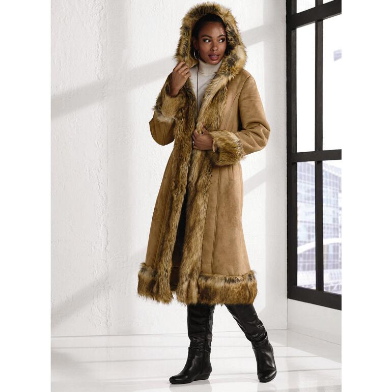 Faux-Shearling Long Coat by Luxe EY - Outerwear - Top Picks ...