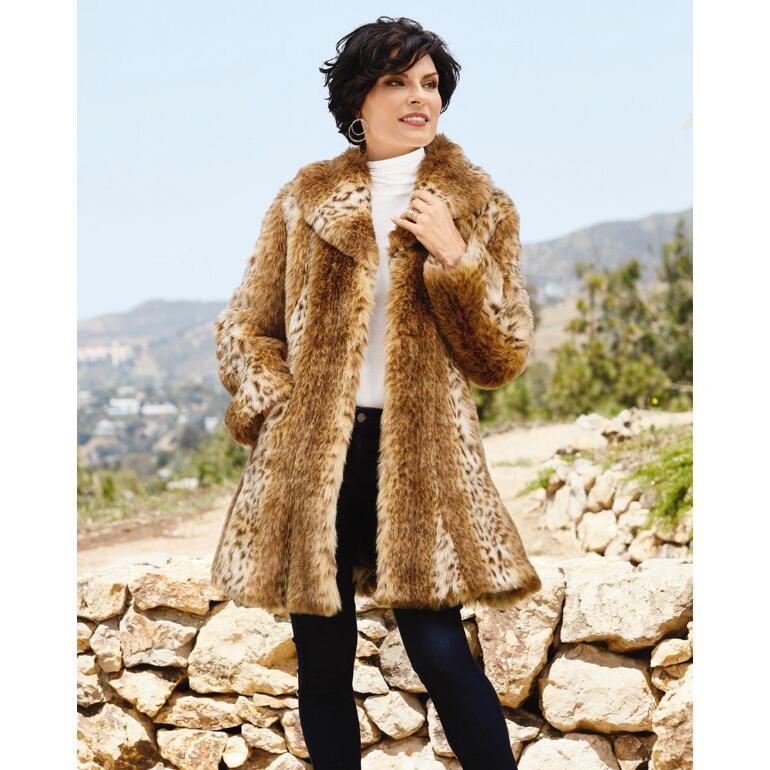 PY Luxury of Lynx Faux-Fur Coat